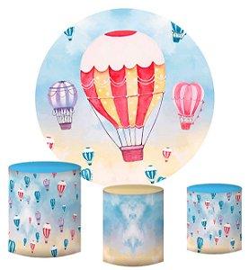 Kit Painel Redondo De Festa e Capas de Cilindro em tecido sublimado Balões Aquarelados