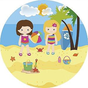 Painel de Festa Redondo em Tecido Sublimado Praia das Meninas