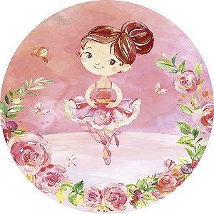 Painel de Festa Redondo em Tecido Sublimado Flores da Bailarina