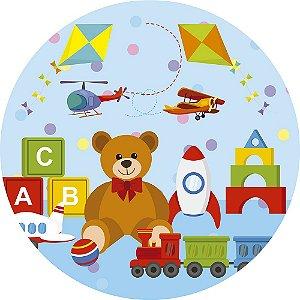 Painel de Festa Redondo em Tecido Sublimado Urso e Brinquedos