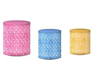 Kit Capas de Cilindro de festa em tecido sublimado Unicórnio Estrelas Aquarela