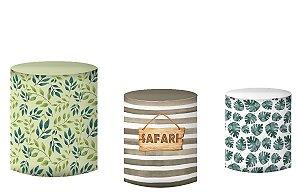 Kit Capas de Cilindro de festa em tecido sublimado Safari Folhas