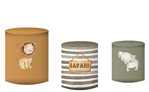 Kit Capas de Cilindro de festa em tecido sublimado Safari Fundo Marrom