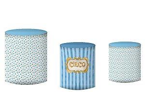 Kit Capas de Cilindro de festa em tecido sublimado Trupe Circo Azul