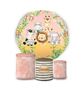 Kit Painel Redondo De Festa e Capas de Cilindro em tecido sublimado Safari Rosa