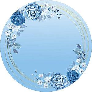 Painel de Festa Redondo em Tecido Sublimado Rosas Azuis