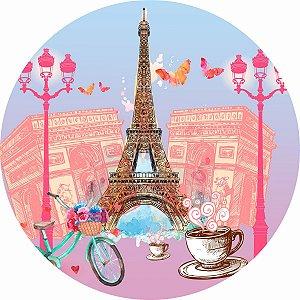 Painel de Festa Redondo em Tecido Sublimado Paris Love