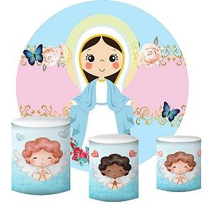 Kit Painel Redondo De Festa e Capas de Cilindro em tecido sublimado Nossa Senhora e Anjinhos