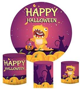 Kit Painel Redondo De Festa e Capas de Cilindro em tecido sublimado Halloween Fantasia