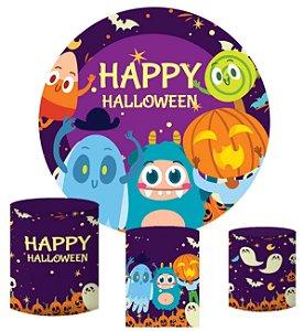 Kit Painel Redondo De Festa e Capas de Cilindro em tecido sublimado Halloween Monstrinhos