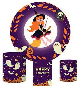 Kit Painel Redondo De Festa e Capas de Cilindro em tecido sublimado Bruxa Halloween
