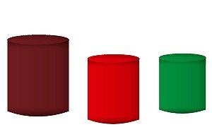 Kit Capas de Cilindro de festa em tecido sublimado Marrom Vermelho e Verde