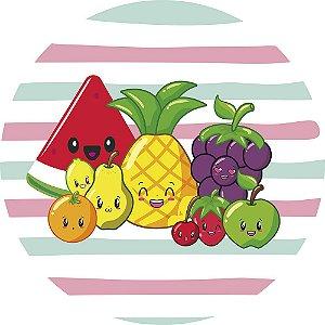 Painel de Festa Redondo em Tecido Sublimado Frutas Divertidas