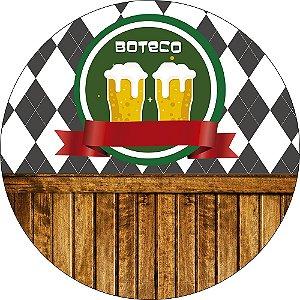 Painel de Festa Redondo em Tecido Sublimado Boteco Cerveja