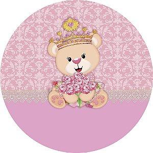 Painel de Festa Redondo em Tecido Sublimado Ursinha Princesa Flores