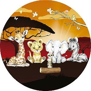 Painel de Festa Redondo em Tecido Sublimado Safari Menino Sunshine