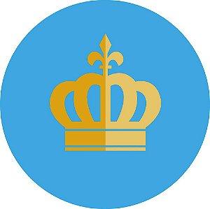 Painel de Festa Redondo em Tecido Sublimado Coroa Realeza Fundo Azul