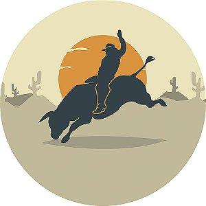 Painel de Festa Redondo em Tecido Sublimado Cowboy