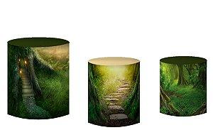 Kit Capas de Cilindro de festa em tecido sublimado Portal da Floresta
