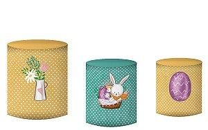 Kit Capas de Cilindro de festa em tecido sublimado Coelhinho da Páscoa