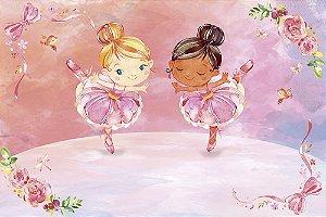Painel de Festa em Tecido Sublimado 3d Mundo das Bailarinas