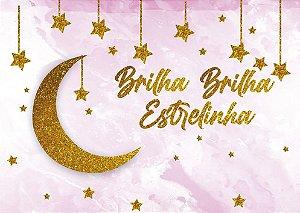 Painel de Festa em Tecido Sublimado 3d Brilha Estrelinha Rosa