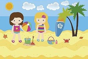Painel de Festa em Tecido Sublimado 3d Praia das Meninas