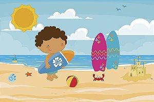 Painel de Festa em Tecido Sublimado 3d Menino na Praia