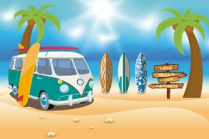Painel de Festa em Tecido Sublimado 3d Praia e Surf