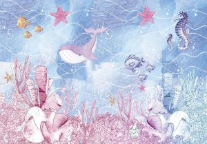Painel de Festa em Tecido Sublimado 3d Fundo do Mar Baleia e Peixes