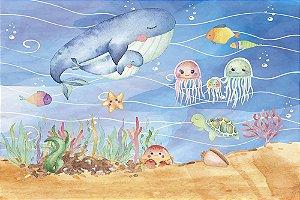 Painel de Festa em Tecido Sublimado 3d Fundo do Mar Aquarelado