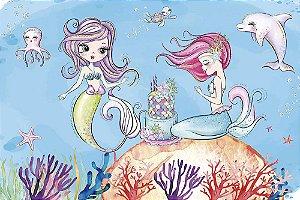 Painel de Festa em Tecido Sublimado 3d Meninas Sereias Aquarela