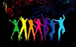 Painel de Festa em Tecido Sublimado 3d Dancing Neon