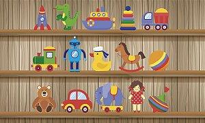 Painel de Festa em Tecido Sublimado 3d Loja dos Brinquedos