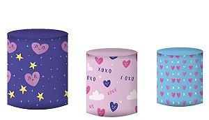 Kit Capas de Cilindro de festa em tecido sublimado Unicórnio Stars