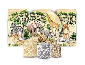 Super Kit Painel De Festa e Capas de Cilindro em tecido sublimado Safari Selvagem