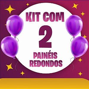 Kit 2 Painéis de Festa Redondo em Tecido Sublimado Temas à Escolher