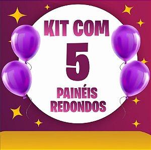 Kit 5 Painéis de Festa Redondo em Tecido Sublimado Temas à Escolher