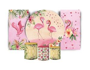 Super Kit Painel De Festa e Capas de Cilindro em tecido sublimado Flamingos Namorados