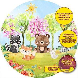 Painel De Festa Tecido Sublimado Abre Fácil Bosque Animais Primavera 1,55m