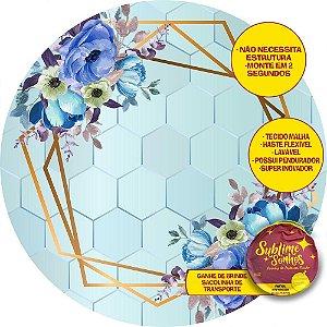 Painel De Festa Tecido Sublimado Abre Fácil Flores Azuis e Dourado 1,55m
