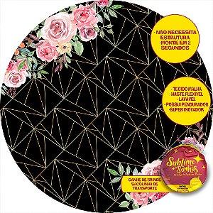 Painel De Festa Tecido Sublimado Abre Fácil Geométrico Preto e Flores 1,55m