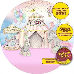 Painel De Festa Tecido Sublimado Abre Fácil Circo Aquarelado 1,55m