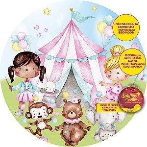 Painel De Festa Tecido Sublimado Abre Fácil Circo das Meninas 1,55m