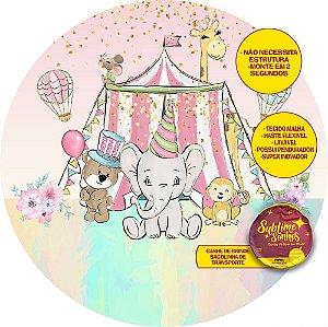 Painel De Festa Tecido Sublimado Abre Fácil Circo Animais Aquarelados 1,55m