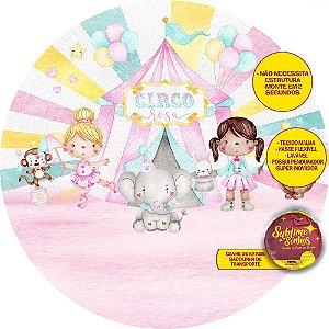 Painel De Festa Tecido Sublimado Abre Fácil Circo das Meninas Aquarelas 1,55m