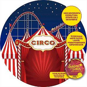 Painel De Festa Tecido Sublimado Abre Fácil Circo e Montanha Russa 1,55m