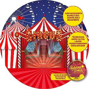 Painel De Festa Tecido Sublimado Abre Fácil Circo e Picadeiro 1,55m
