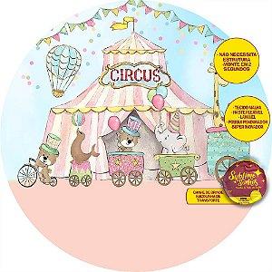 Painel De Festa Tecido Sublimado Abre Fácil Circo Trenzinho 1,55m