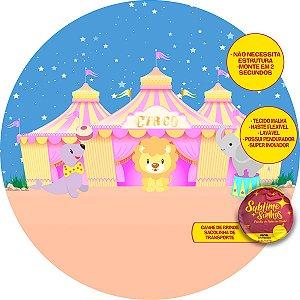 Painel De Festa Tecido Sublimado Abre Fácil Circo Cute 1,55m